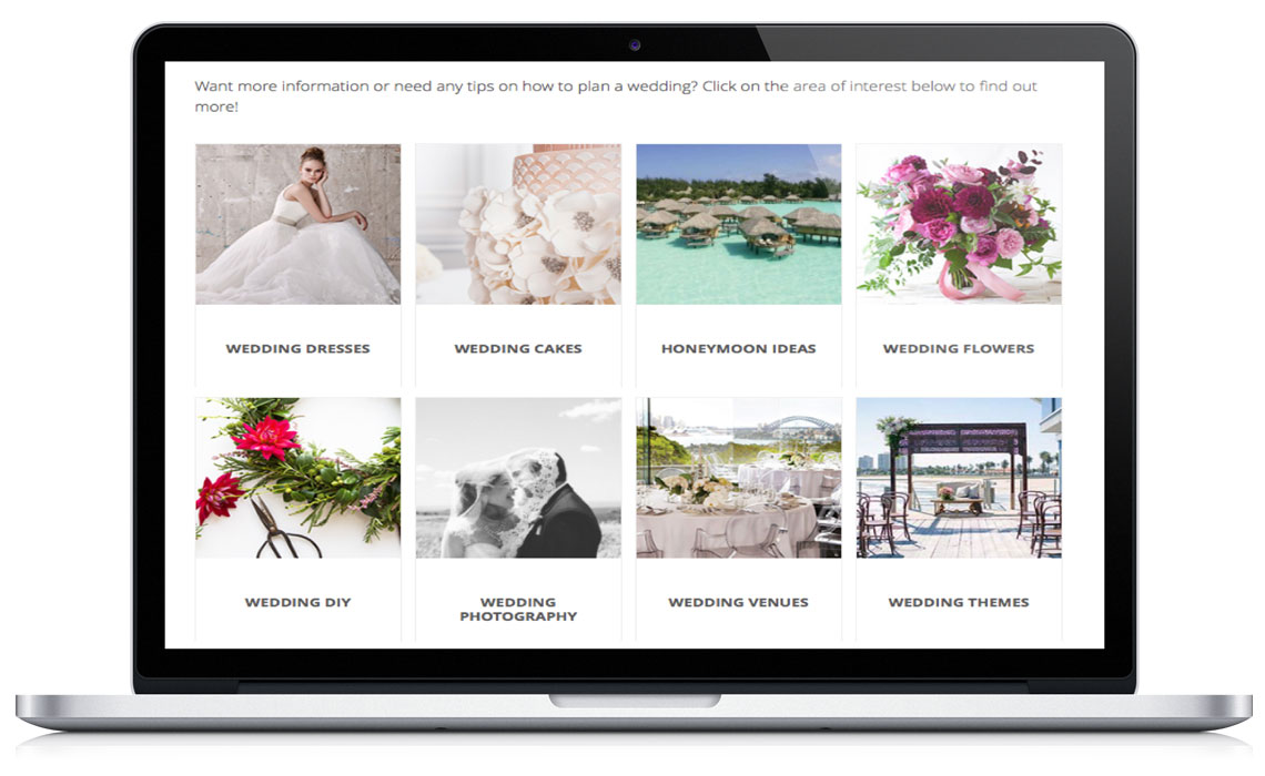 Example display of categories featured images
